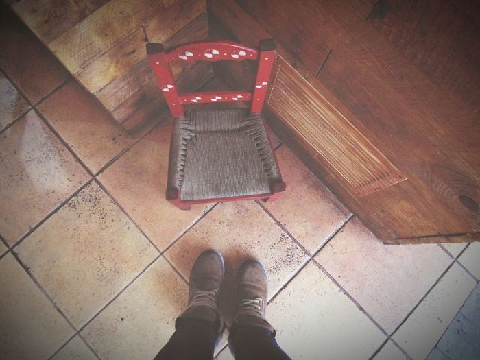 Small Small Chair Chair Floortraits Floortrait Floor Tiles Brown Boots Looking Down From My Point Of View Deceptively Simple The Street Photographer - 2016 EyeEm Awards EyeEm Best Shots EyeEm Gallery Decoration Wood - Material Standing Flooring Personal Perspective Tiles Footscapes A Bird's Eye View