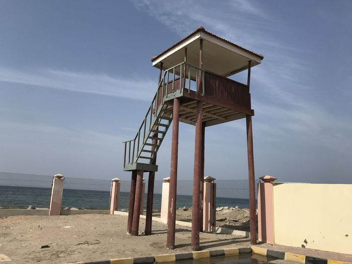 Sky Architecture Water Built Structure Sea Land Beach Nature Day Sand Cloud - Sky Observation Point No People Horizon Over Water Security Lookout Tower Lifeguard Hut Safety Building Exterior Outdoors Ladder