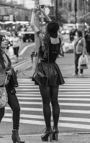 Blackandwhite Candid City Life City Street Day Full Length High Heels Legs Miniskirt Selective Focus Streetfashion Streetphotography Tights