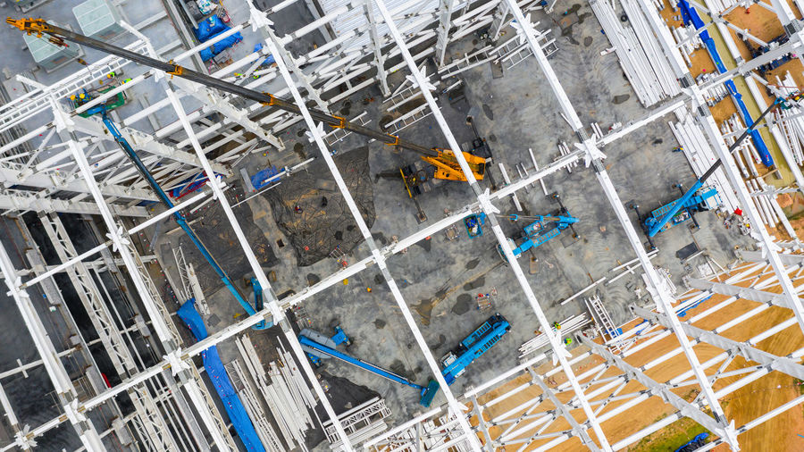 High angle view of construction site by building