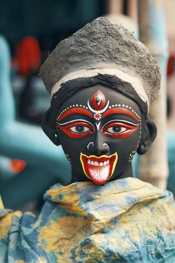 Kali idols are being made at kalighat patuapara, kolkata, few days before kali puja festival.