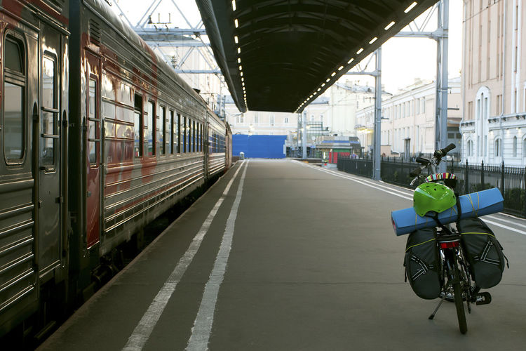 Bicycle on rail road station