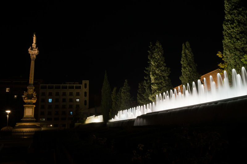 Granada, Spain SPAIN Andalusia Sacromonte Night Architecture Built Structure Building Exterior Illuminated Plant No People Nature Tree Travel Destinations Sky Outdoors Tourism Copy Space City Building Water Travel Motion Fountain