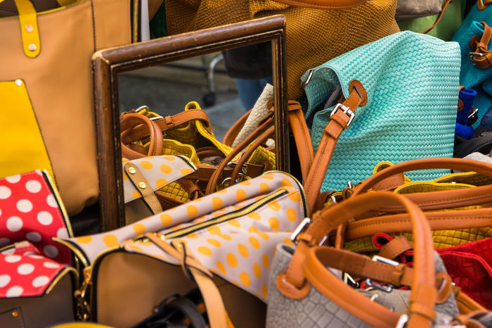 Handbags. Abundance Choice Day Dots Handbags Large Group Of Objects Market Market Stall Mirror No People Purse Red Reflection Retail  Still Life Variation Yellow