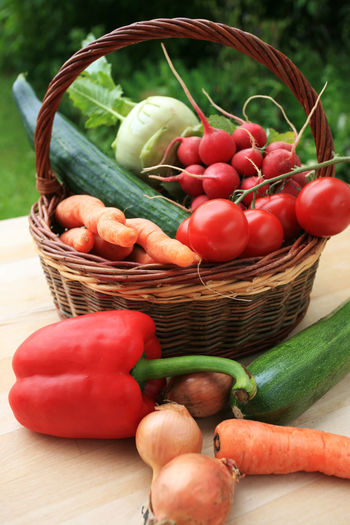 Wicker basket full of fresh vegetables on a wooden outside table Basket Vegetable Food Freshness Healthy Eating Wellbeing Red Pepper No People Green Color Still Life Table Tomato Close-up Bell Pepper Wicker Raw Food Cucumber Carrot Farmer's Market Garden Harvest Kohlrabi Onion Radish Ripe