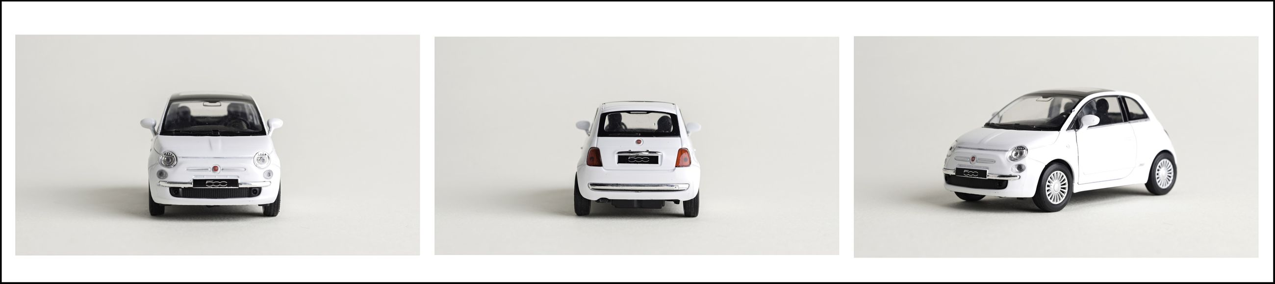 Triptic FIAT 500 matchbox . Love to do this things. Fiat 500 Object Photography Matchbox Funny Pics Very Italian White Album