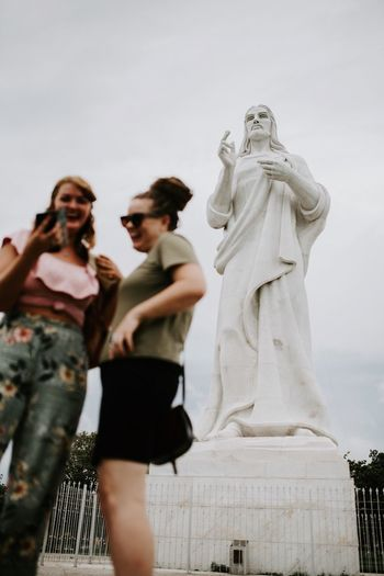 Another very special monument is the one you see here, it's the Christ of Havana. It's actually weighs 320 tons...Spechless. Human Representation Statue Representation Sculpture Art And Craft Male Likeness Women People Togetherness