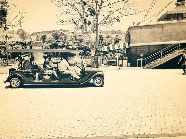 Sepia Photography Mode Of Transport Land Vehicle Outdoors Fun Ride Theme Park Ride Car Ride  Theme Park Car Ride Amusement Car Ride Car Ride! Golf Car Transportation Blackandwhite Photography Grey Photography Blackandwhite Black And White Photography Black & White Sepia_collection Sepia Cart Wheels Cart Racing Cart Road