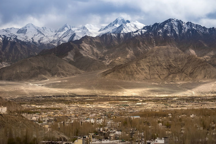 Lanscape scene of Leh, Ladakh, India land of high passes. Himalayan Range Himalayas India Beauty In Nature Cloud - Sky Environment Landscape Leh Ladakh.. Mountain Mountain Range Nature No People Outdoors Scenics - Nature Sky Snowcapped Mountain