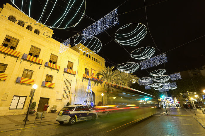 Elche, Spain. December 18, 2017: Town Hall Square of the city of Elche, with Christmas decoration. Alacant Alicante Alicante Province Spain Christmas Elche Elx SPAIN Spanish Travel Architecture Blurred Motion Building Exterior Built Structure Car Chrismas Lights Christmas Decoration Christmas Ornament City Illuminated Land Vehicle Night No People Outdoors Sky Transportation Travel Destinations