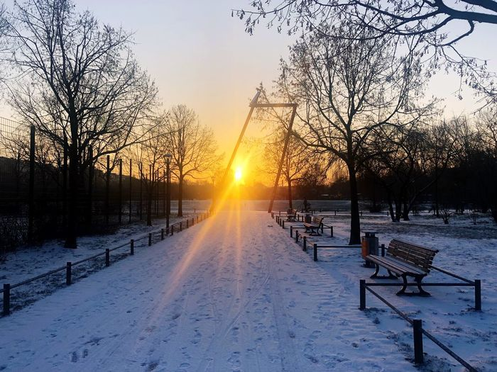 Sunrise Snow Cold Temperature Winter Sunset Sun Nature Beauty In Nature Tree Weather Scenics Bare Tree Sunbeam Tranquility Sky Tranquil Scene No People Sunlight Outdoors Frozen Landscape