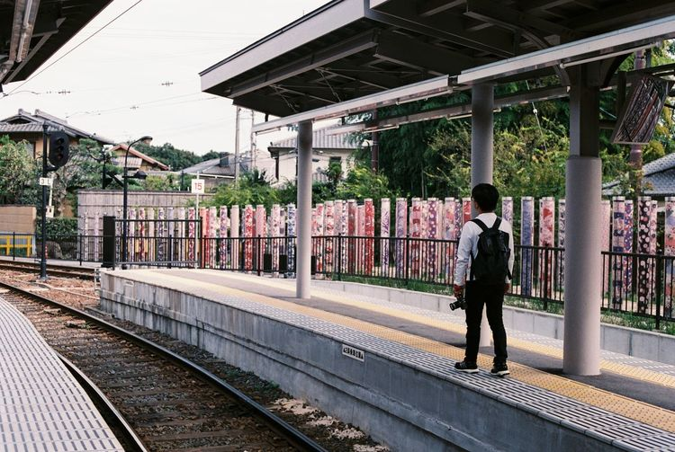 135mm Analog Analogue Arashiyama Architecture Built Structure City Life Connection Empty Film Film Photography Filmphotography Fujifilm Kyoto Men Perspective Railing Railway Randen The Way Forward Train Station Transportation Waiting For A Train Walkway