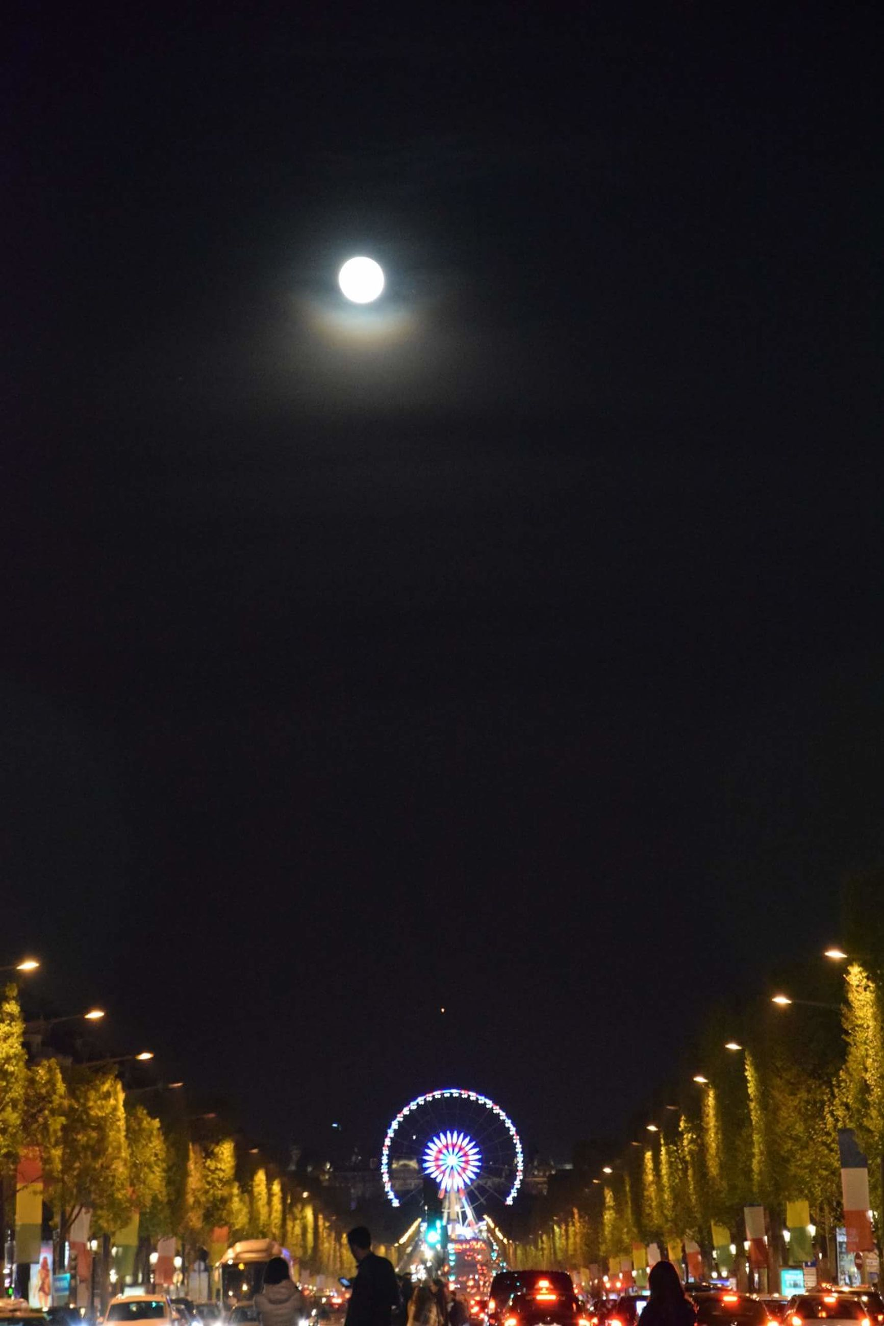 night, moon, illuminated, city, sky, architecture, building exterior, outdoors, astronomy, midnight, no people, star - space