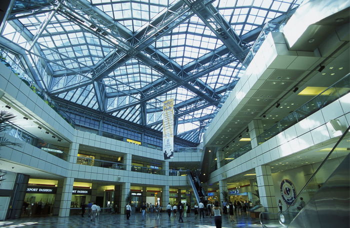 Architectural Column Architectural Feature Architecture Building Built Structure Ceiling City Life Day Interior Low Angle View Modern No People Skylight Transportation Building - Type Of Building Travel Destinations