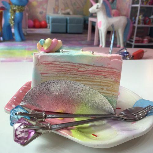 Rainbow Crepe cake Crêpes Crepe Crepecake Rainbow Rainbow🌈 Tasty Sweet Unicorn Unicorncafe Cake Cutecake