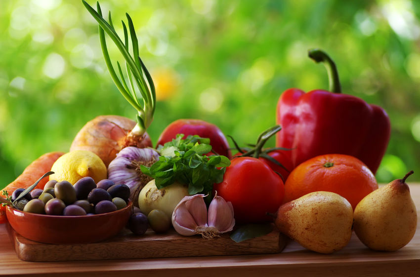 vegetables and fruits of mediterranean diet Close-up Food Food And Drink Freshness Fruit Red Ripe Table Tomato Vegetable
