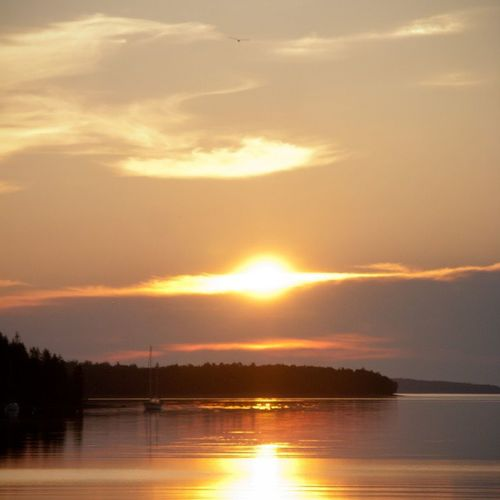 Another Sunrise over PrincesInlet , Lunenburg , Novascotia . There's an osprey at the top of the frame. visitnovascotia igersottawa
