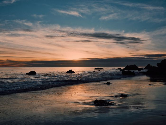 Sunset Sea Beauty In Nature Nature Sky Scenics Water Tranquility Cloud - Sky No People Tranquil Scene Beach Horizon Over Water Wave Outdoors California Dreamin