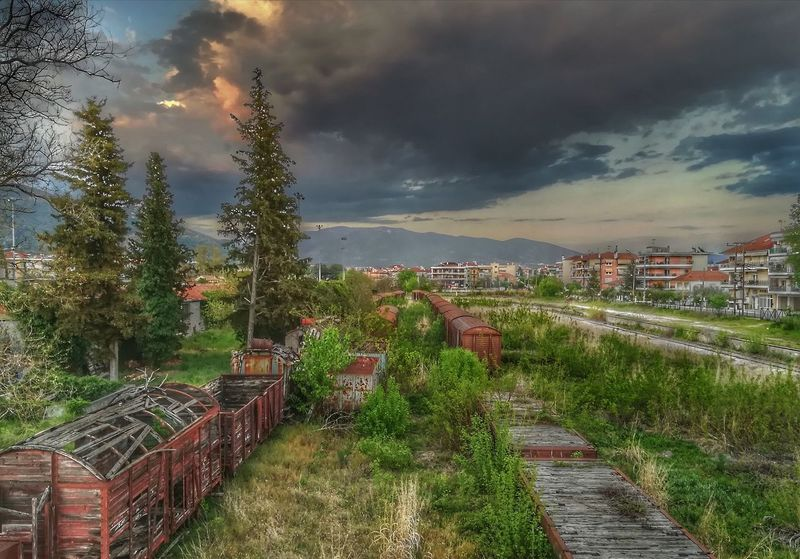 Cloud - Sky No People Outdoors Tree Sunset Landscape Nature Old Train Station Old Train Old Traintrack Old Train Transportation