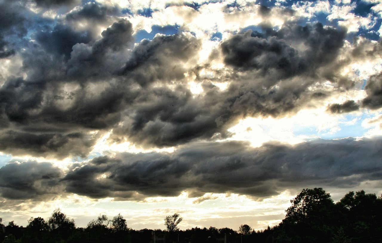 nature, sky, cloud - sky, beauty in nature, cloudscape, scenics, silhouette, tranquility, tree, majestic, low angle view, dramatic sky, tranquil scene, no people, outdoors, sky only, sunset, sunlight, awe, day
