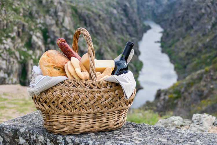 Close-Up Of Picnic Basket On Mountain