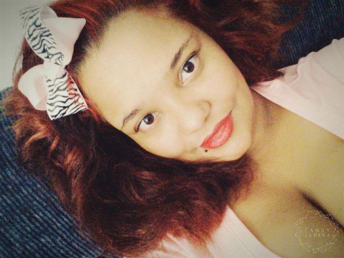 Selfie✌ Beautiful Almond Eyes Smile Hairbow Redlipstick