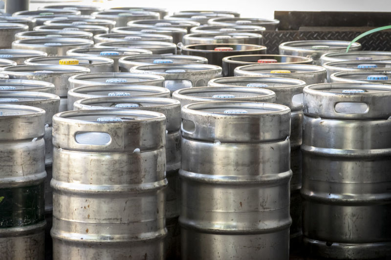 Beer kegs. Beer Beer Kegs Keg Abundance Alcohol Alloy Arrangement Close-up Container Day Domestic Room Drink Drink Can Focus On Foreground Food And Drink In A Row Industry Kegs Large Group Of Objects Metal No People Order Silver Colored Stack Steel