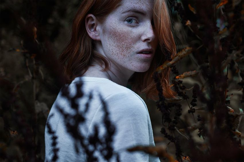 One Person Redhead Portrait Looking At Camera Headshot Young Adult Beautiful Woman Outdoors Autumn Real People Beauty Day People Adult One Young Woman Only One Woman Only Only Women Blond Hair Tree
