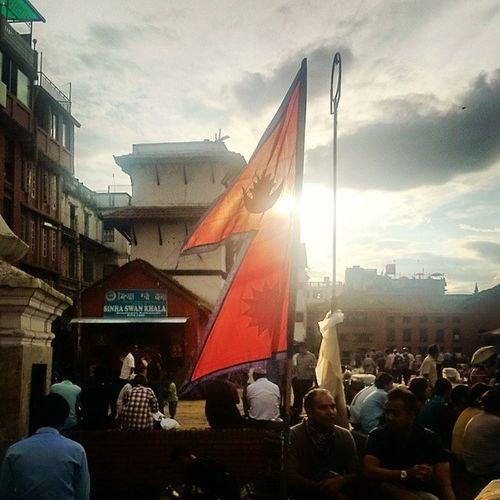 Worldheritage Basantapur Kathmandu Nepal nationalflag nepali gorkhali chandrasurya durbarsquare flag