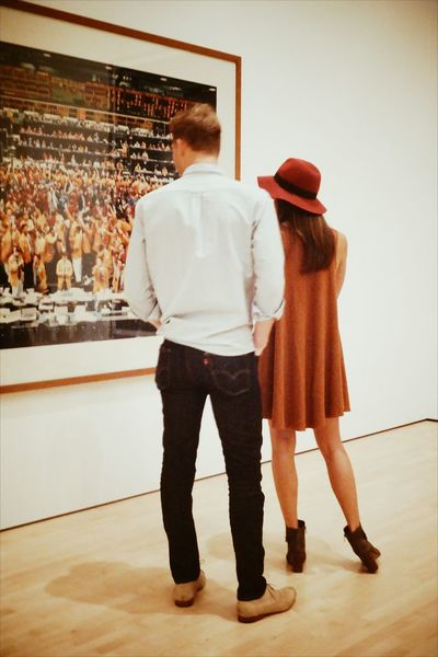 Rear View Full Length Adults Only Indoors  People Autumn Colors Fashion Statement California Orange Color San Francisco Bonding Couple - Relationship Lifestyles Real People Leisure Activity Two People Art Photography Gursky Looking At Art