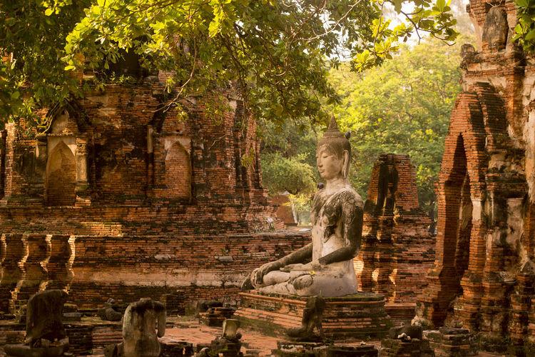 Old buddha statue at wat yai chai mongkhon