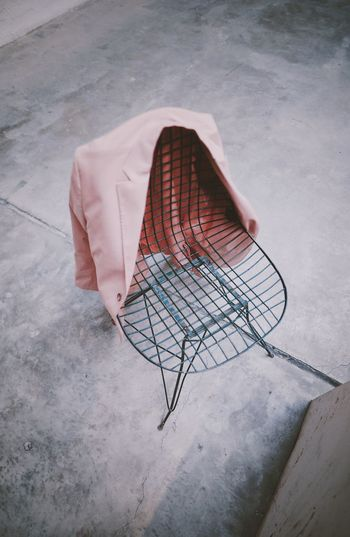High angle view of coat on chair