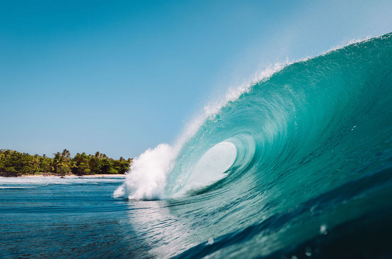 paradise Water Power In Nature Power Motion Wave Sea Nature Beauty In Nature Day Blue Clear Sky Outdoors No People Splashing Turquoise Colored Paradise Beach Surf Surfing Nature Wave Waves, Ocean, Nature EyeEmNewHere EyeEm Best Shots EyeEm Nature Lover