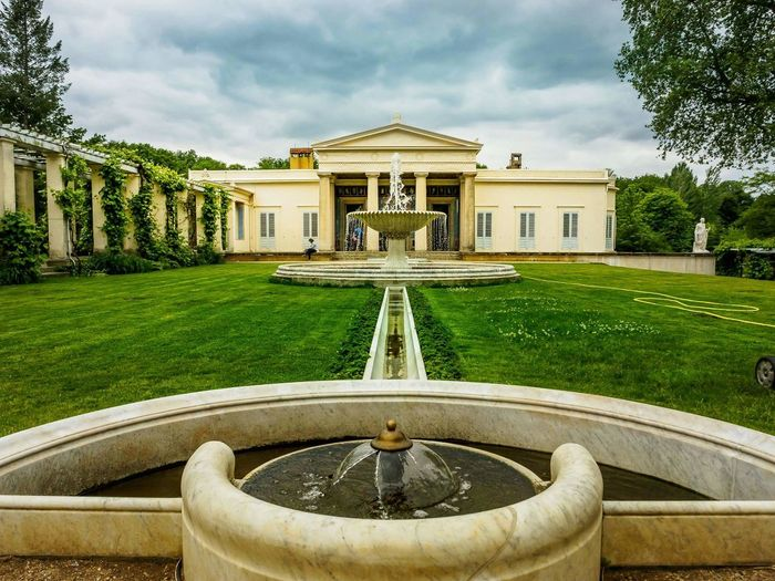 Fountain Water Architecture Drinking Fountain Front Or Back Yard Grass Lawn Luxury Built Structure Modern No People Outdoors Building Exterior Day Politics And Government Sky Sanssoucipark Nature Photography Sanssouci Park Potsdam Potsdam Outdoor Play Equipment Your Ticket To Europe