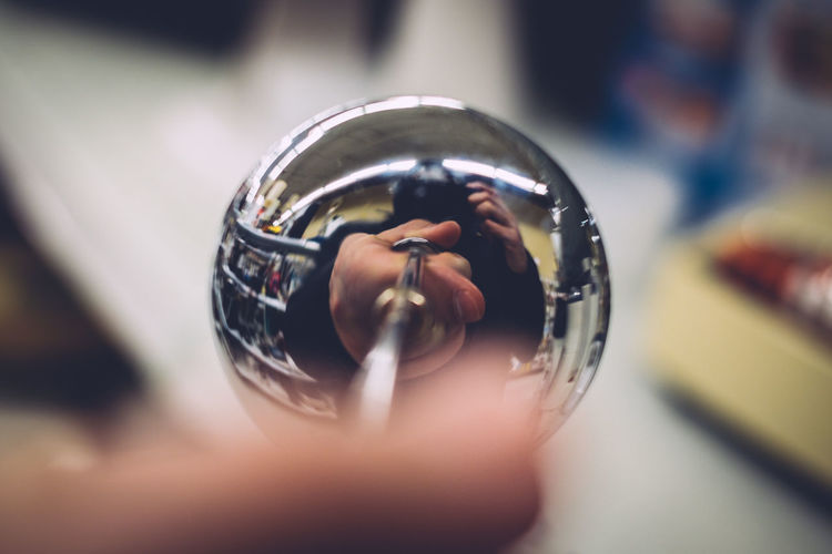 Close-up Convex Day Focus On Foreground Human Hand Indoors  One Person Real People Reflection