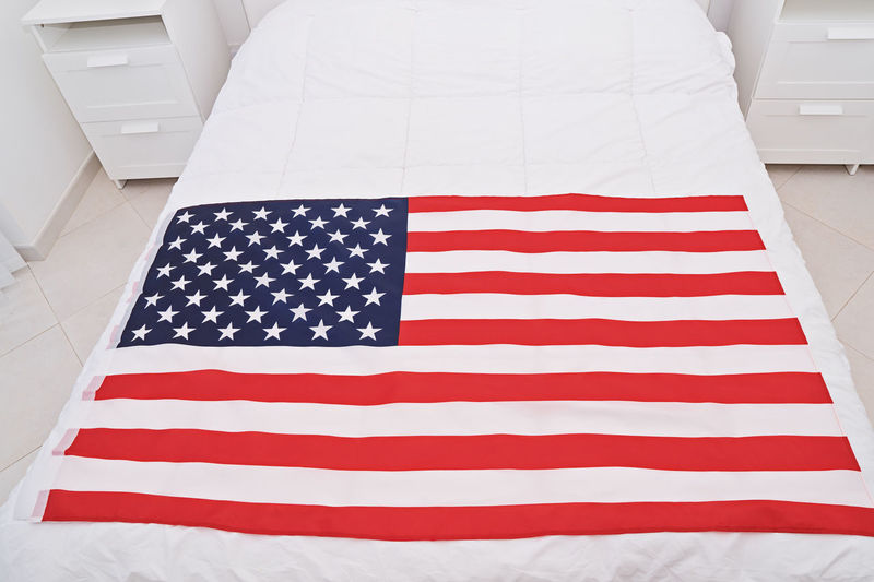 American Flag Day USA 14th June Greeting Event July Happy Independence Celebrate National America Military Traditional Stripes United Celebration Banner Army Remember Memorial Holiday Liberty Flag Day Veterans Parade Card Concept Anniversary Star Patriot Fourth 4th Of July 4th July Us HERO Bedroom Duvet Interior Bed White Prepare Week Towel White Color Patriotism Striped Star Shape Indoors  No People Freedom High Angle View