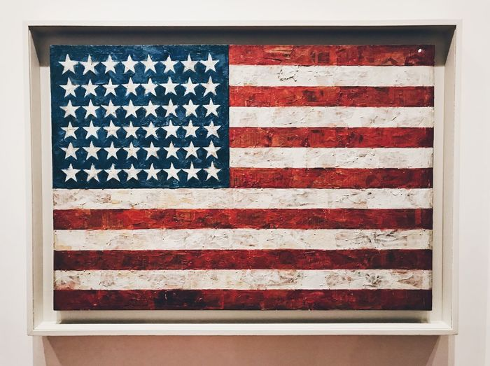 Jasper Johns NYC New York American Flag Moma Flag Patriotism Striped Shape Symbol Star Shape No People Freedom Pride Symbolism National Icon Independence Red Close-up Emotion Pattern Democracy White Color