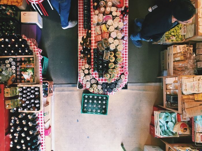 High angle view of objects at store