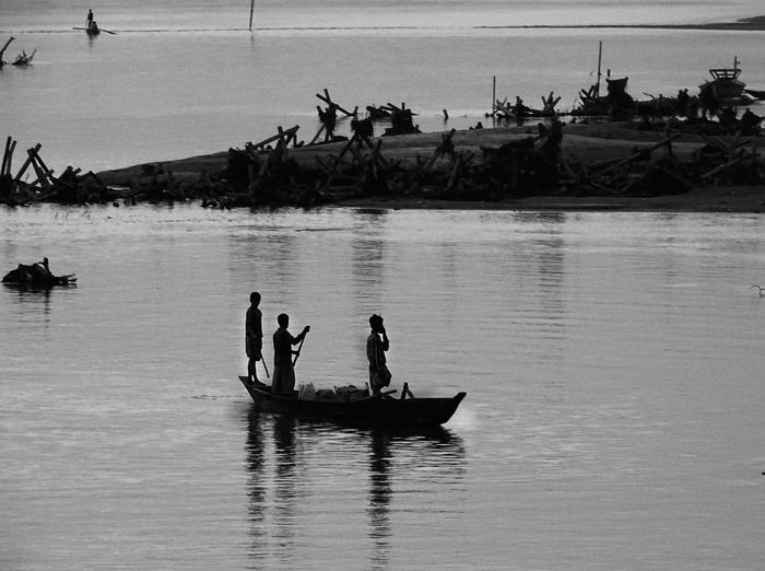 Black And White Blackandwhite Blackandwhite Photography Boat Boating In River Ganga Day Eye Em Best Shots Eye4photography  EyeEm EyeEm Best Shots EyeEm Gallery EyeEmBestPics Fisherman Lifestyles Light And Shadow Men Mode Of Transport Monochromatic Monochrome Monochrome_life Nature Outdoors River Transportation Water