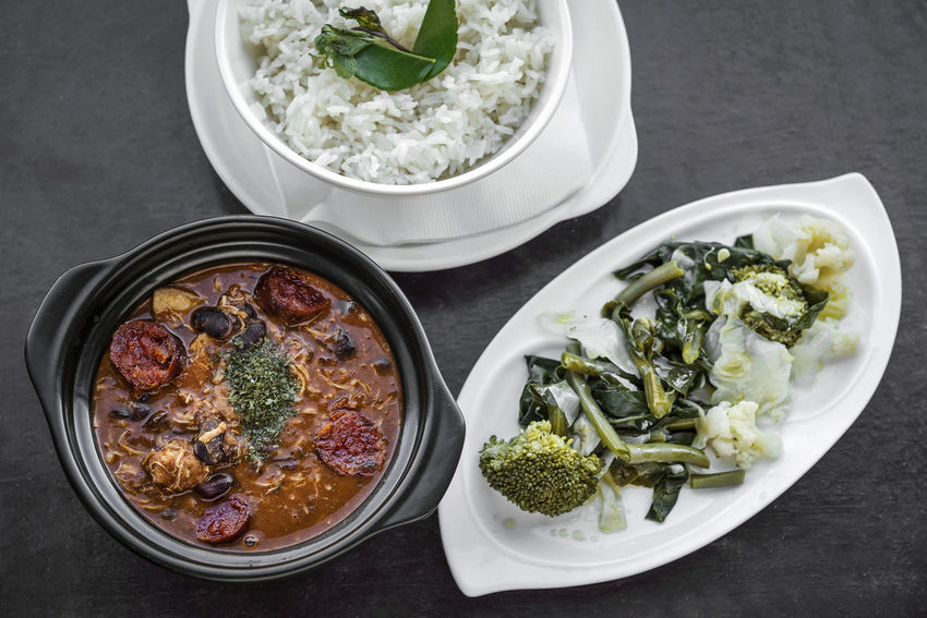 feijoada portuguese meat stew Feijoada Bowl Close-up Day Food Food And Drink Freshness Garnish Healthy Eating High Angle View Indoors  Meat Stew No People Portuguese Food Ready-to-eat Set Meal Stew Table Vegetable