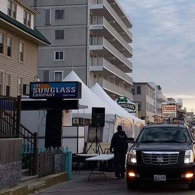 Dale, the DJ, setting up for today's Stpatricksday festivities.... Oceancitycool OceanCity Maryland Ocmd Boardwalk