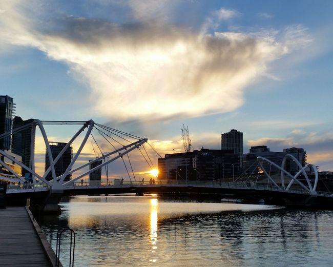 Bridge - Man Made Structure Harbor Melbourne City Reflection River Sky Sunset Urban Skyline Water Waterfront Yarra River