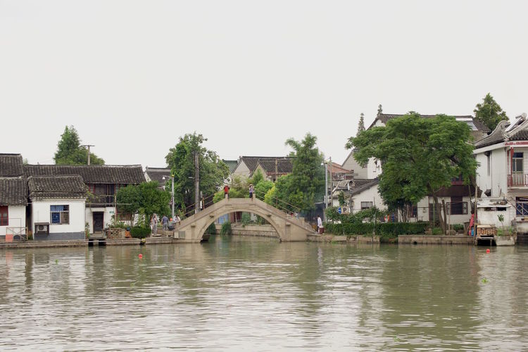 Watertown Zhujiajiao Architecture Building Exterior Built Structure Canal City Clear Sky Day Nature No People Outdoors Residential Building Residential District Residential Structure River Sky Town Travel Destinations Water Waterfront