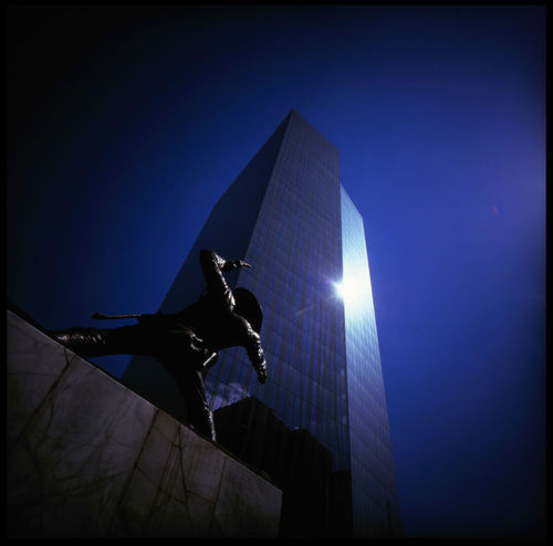Don Quixote in Manila ASIA Analogue Photography Architecture Battle Of The Cities HERO Lomography Manila Philippines Revolution Statue Travel Battle Blue Sky Don Quixote Fighting Marshal Medium Format Money Changer Police Slide Steets Summer Urban