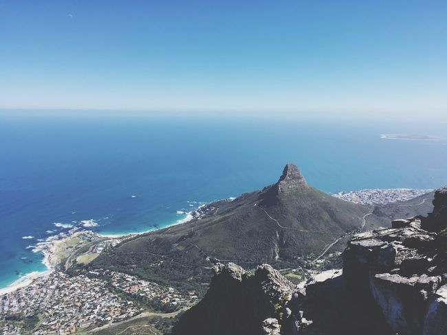 Lions Head Horizon Over Water Sea Beauty In Nature South Africa Cape Town Table Mountain