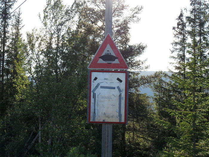 Are we in danger now? Alien Alien Area Dangerous Do You Know This Sign? EyEmNewHere Hessdalen Lights Hessdalen Valley Nature No People Original Photography Traffic Sign UFO Ufo Landing !! No Edit/no Filter Sign Travelling Photography Capture The Moment Norway Summer