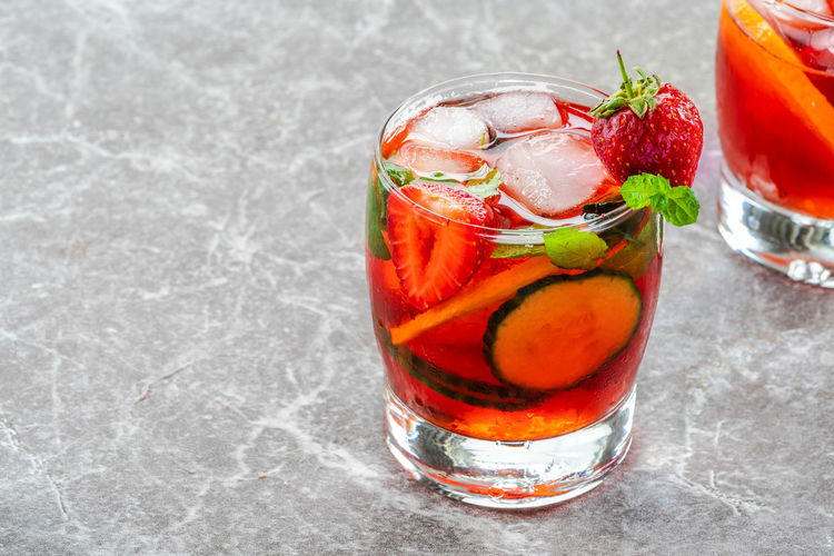 Red fruit on ice