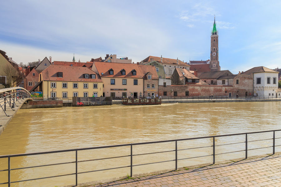 View over the Isar river to downtown Landshut Altstadt Architecture Building Exterior Built Structure City Day Fluss Isar Landshut Landshut, Germany Outdoors Religion Sky Travel Destinations Water Waterfront