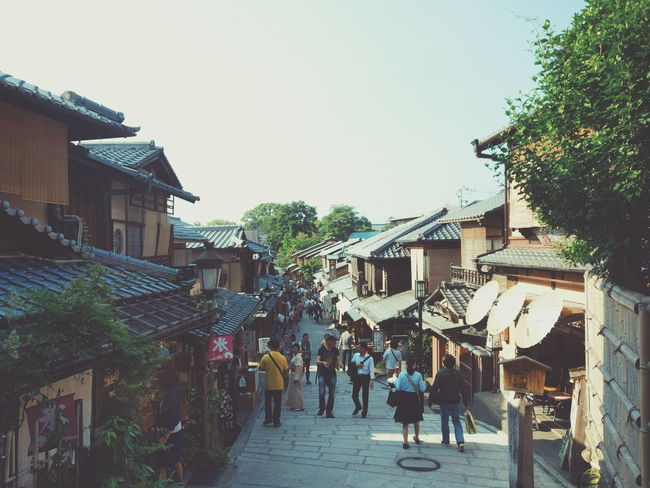 Japan Street House Kyoto Outdoors Walking Large Group Of People Sky Architecture