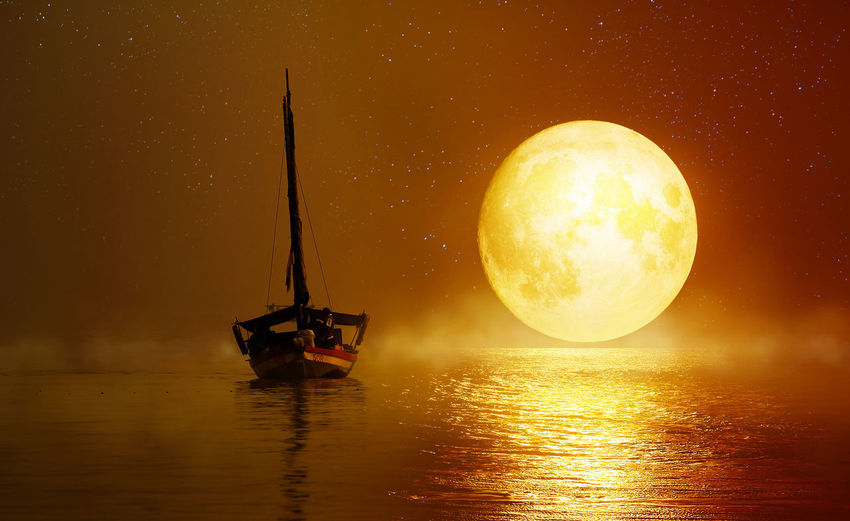 10 Beauty In Nature Nature Night No People Orange Color Outdoors Scenics - Nature Sea Sky Sunset Transportation Water Waterfront
